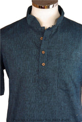 Blue Kurta top - Indian shirt - Ideal on a pair of jeans - Bolero A.P 0316 - Prachy Creations