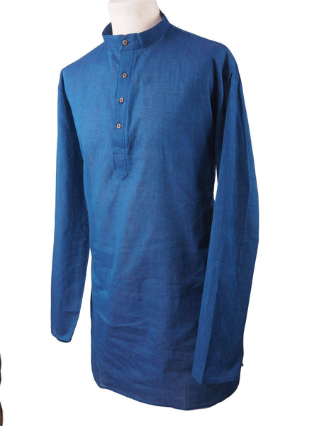 "Prachy Creations : Astra - Blue Cotton Kurta top - Mens Indian shirt - Ideal on a pair of jeans - R0718, 36"" / Blue"