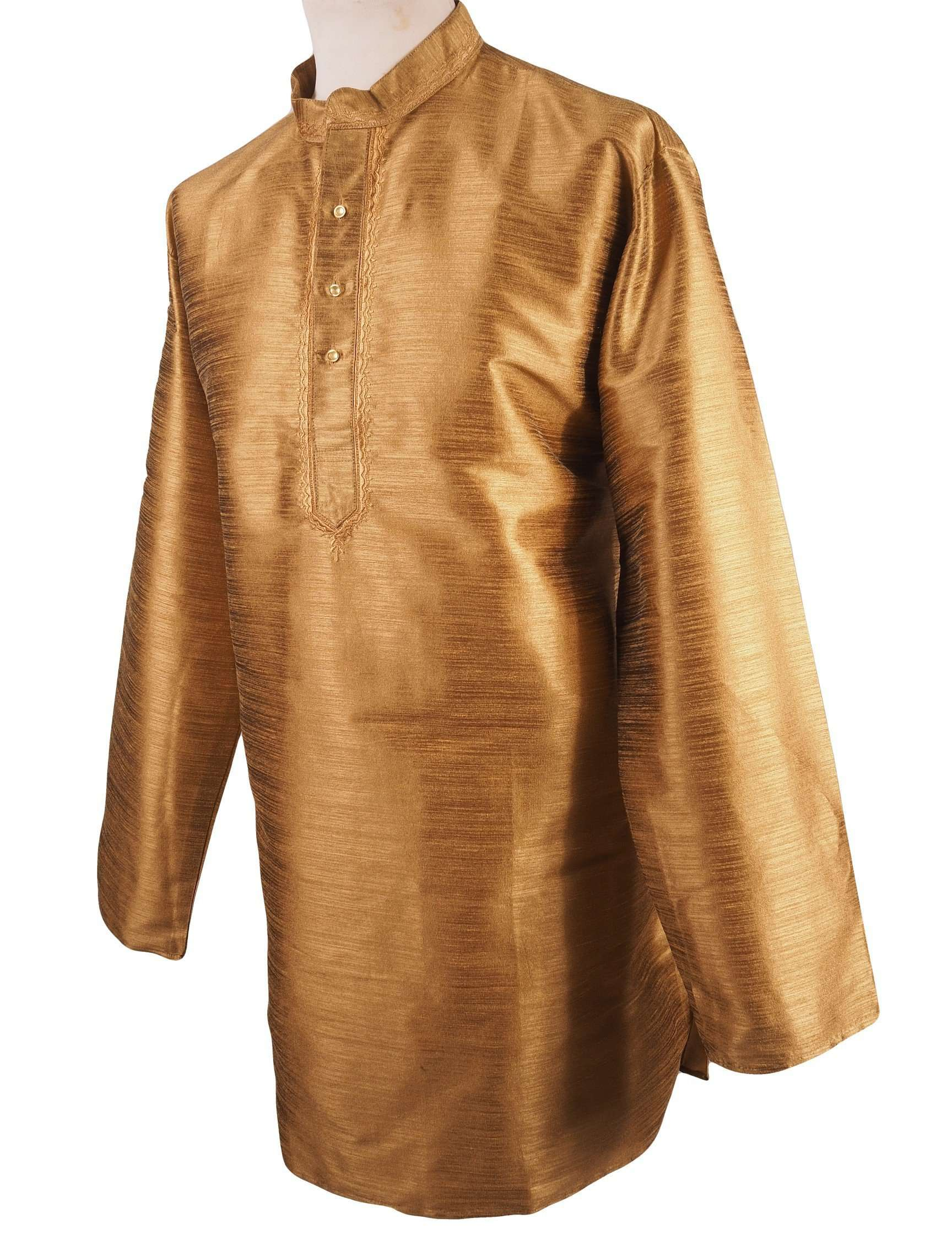 "Prachy Creations : Corsa - Antique Gold Kurta top - Indian shirt - Ideal on a pair of jeans H0718, 46"" / Antique"