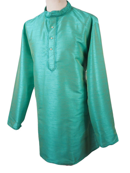 "Prachy Creations : Corsa - Aqua Blue Kurta top - Indian shirt - Ideal on a pair of jeans H0718, 40"" / Blue"
