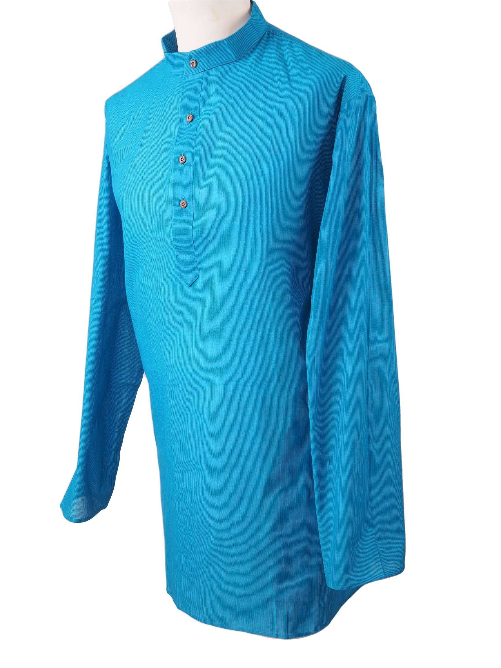 Astra - Turquoise Cotton Kurta top - Mens Indian shirt - Ideal on a pair of jeans - R0718 - Prachy Creations