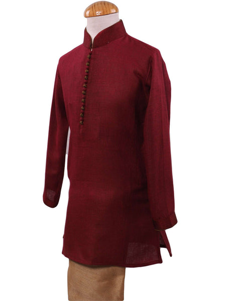 BollywoodParty - Boys Kurta set with churidar trousers, Maroon - CRV KY0319 - Prachy Creations