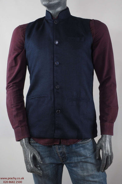 Prachy Creations : Camry - Navy Jute cotton Mens waistcoat 04KP17