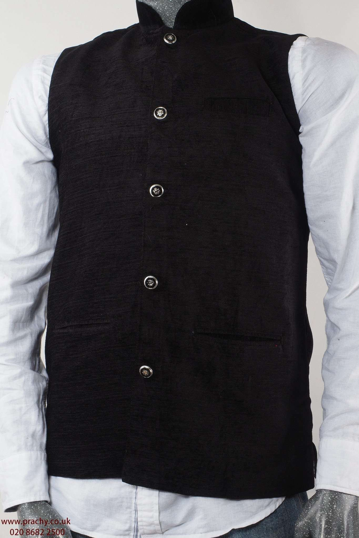 Captiva - Black Velvet Mens Bollywood waistcoat 04KP17 - Prachy Creations