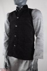 Prachy Creations : Captiva - Black Velvet Mens Bollywood waistcoat 04KP17