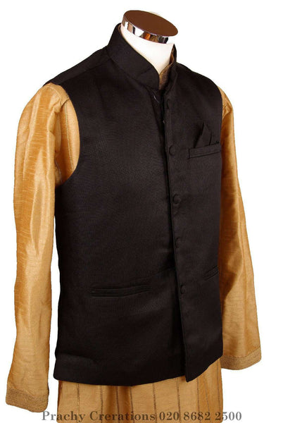 Prachy Creations : Mens Bollywood party style waistcoat - Black - Cello H 0316