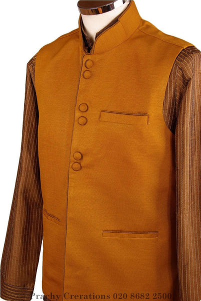 Mens Bollywood party style waistcoat - Mustard / Golden - CR V  H 0316 - Prachy Creations