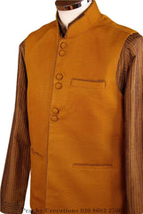 Prachy Creations : Mens Bollywood party style waistcoat - Mustard / Golden - CR V  H 0316