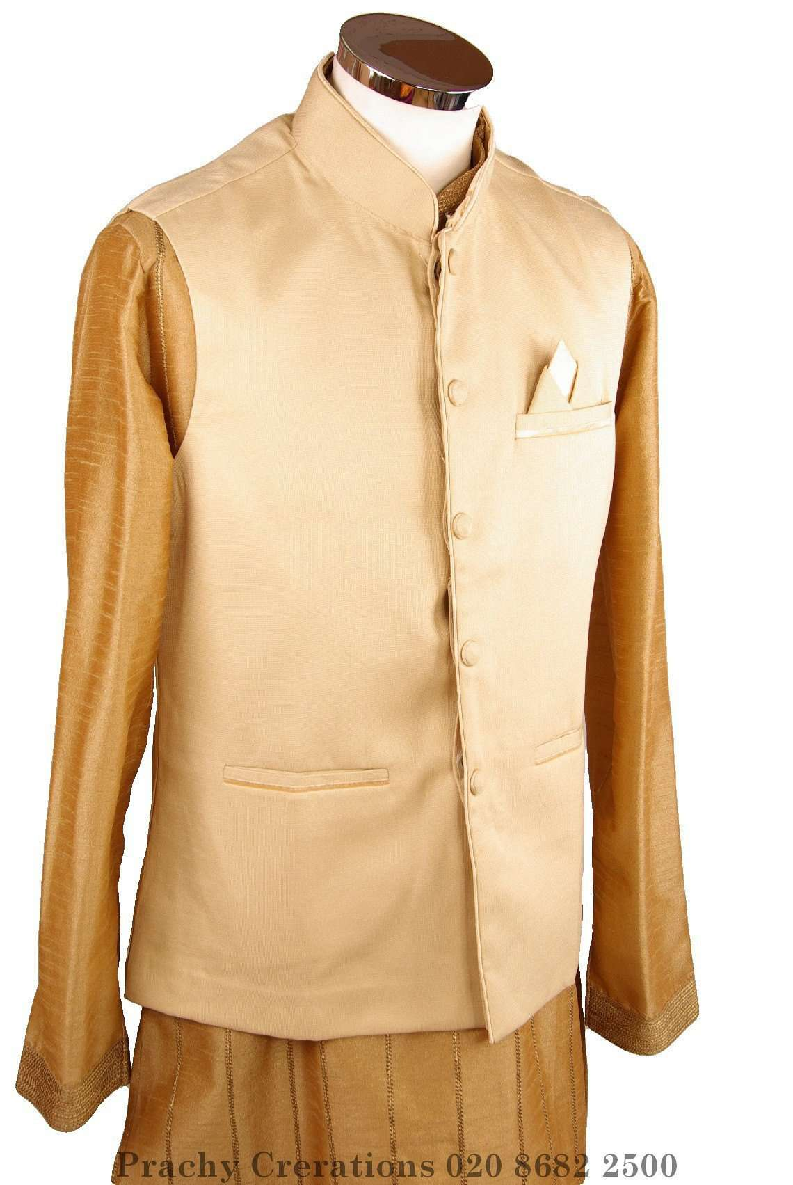 Mens Bollywood party style waistcoat - Cream - Cello H 0316 - Prachy Creations