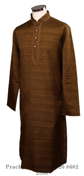 Kurta set made using handloom material with thread work - Chev KY0315 - Prachy Creations