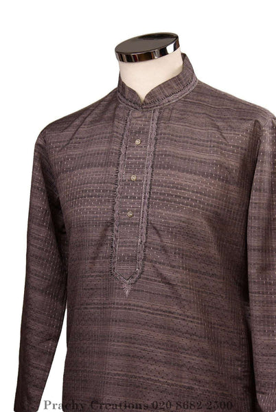 Prachy Creations : Kurta set made using handloom material with thread work - Chev KY0315, Grey / 34""