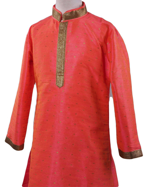 Prachy Creations : BollywoodParty - Boys Kurta set with pyjama trousers , Coral - Commander KV0319 Size age six months onwards
