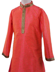 BollywoodParty - Boys Kurta set with pyjama trousers , Coral - Commander KV0319 Size age six months onwards - Prachy Creations