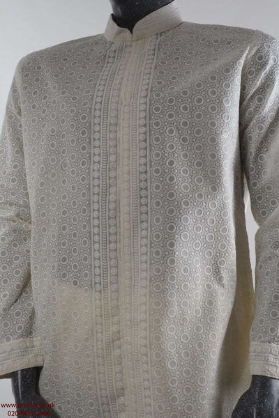 Prachy Creations : 100% Cotton - Cream Lucknow Mens Indian Kurta outfit - FOJDAR32978KA