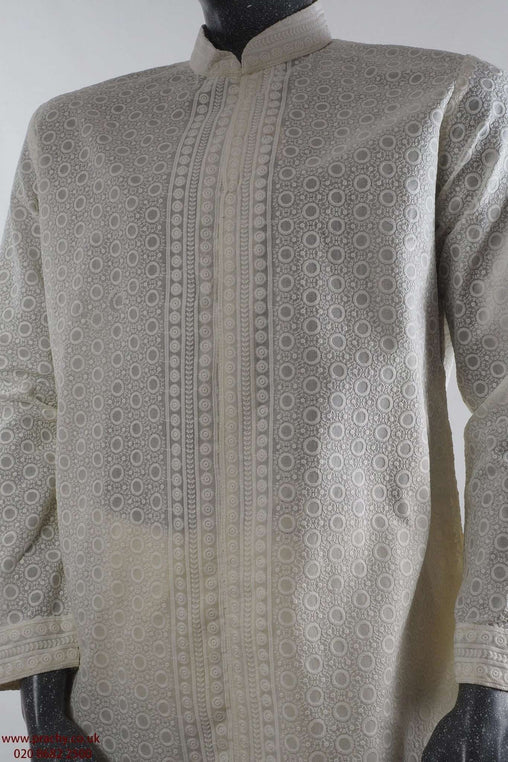100% Cotton - Cream Lucknow Mens Indian Kurta outfit - FOJDAR32978KA - Prachy Creations