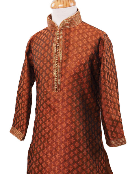 BollywoodParty - Boys Kurta set with pyjama trousers , Brown - Crown C0319 Size age six months onwards - Prachy Creations