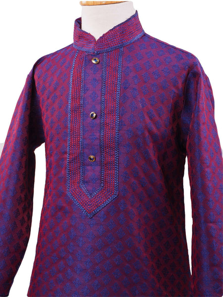 Bollywood - Boys Kurta set with churidar trousers, Purple - Crown HP0319 - - Prachy Creations