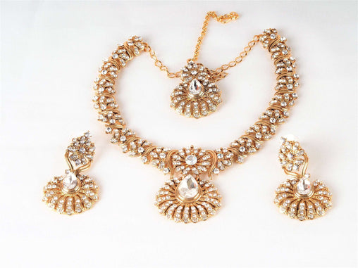 Prachy Creations : Antique gold finish Necklace, Earrings and Tika set - DC76270 KP0817, Medium / Clear