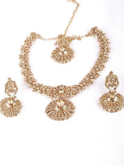 Prachy Creations : Antique gold finish Necklace, Earrings and Tika set - DC76270 KP0817, Medium / LCT Gold