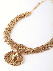 Prachy Creations : Antique gold finish Necklace, Earrings and Tika set - DC76270 KP0817