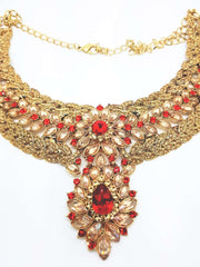 DC8757 JY - Antique gold finish Necklace, Earrings and Tika set - Prachy Creations