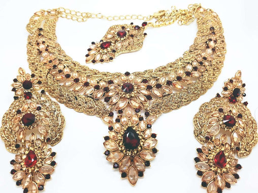 Prachy Creations : DC8757 JY - Antique gold finish Necklace, Earrings and Tika set, Maroon