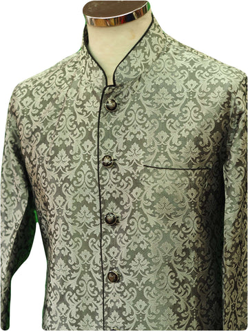 Mens Indian Light Sherwani set in Black / Silver Brocade for weddings, Bollywood Party ( with Draw stringed trousers) - DD180801JV