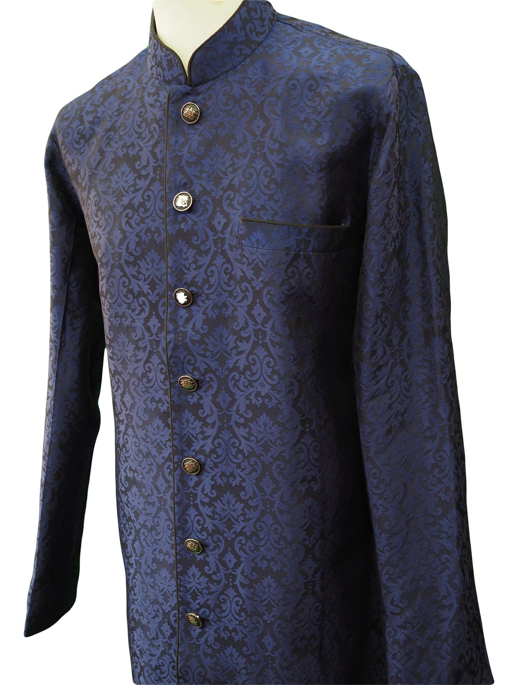 Mens Indian Light Sherwani set in Navy Brocade for weddings, Bollywood Party ( with Draw stringed trousers) - DD180802JV - Prachy Creations