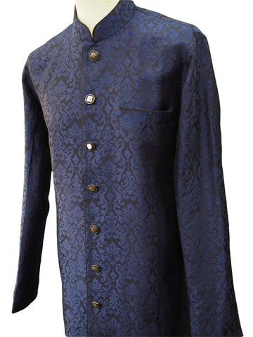 Mens Indian Light Sherwani set in Navy Brocade for weddings, Bollywood Party ( with Draw stringed trousers) - DD180802JV