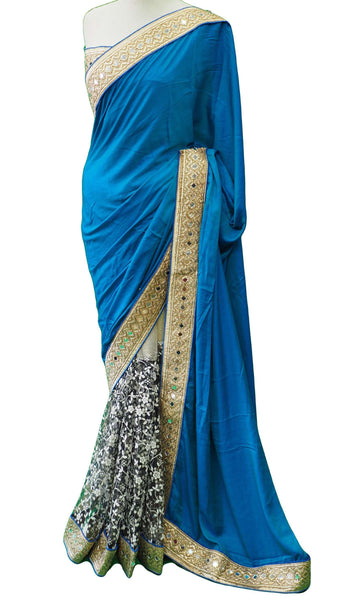 Prachy Creations : Half N Half saree with printed net pleats, blouse pcs - DRF5010JY 0218, Blue