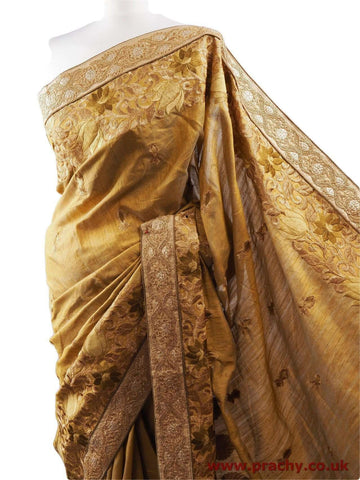 DRF5015 04JJ17 - Gold Saree with blouse pcs