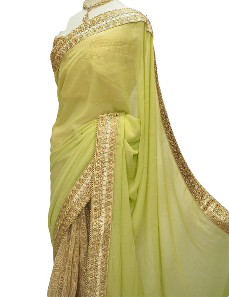 Prachy Creations : Gold / Yellow Half N Half  Saree with blouse piece - Bollywood, weddings - DRF5048 10JA17, Gold