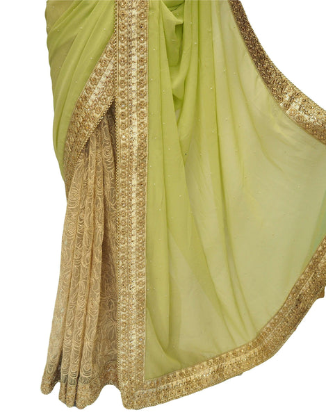 Gold / Yellow Half N Half  Saree with blouse piece - Bollywood, weddings - DRF5048 10JA17