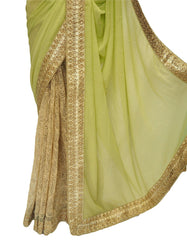 Gold / Yellow Half N Half  Saree with blouse piece - Bollywood, weddings - DRF5048 10JA17 - Prachy Creations