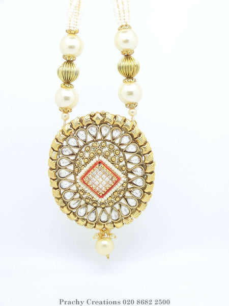 Prachy Creations : LC 98 - Bollywood style Indian antique finish pearl set KY0316, Clear