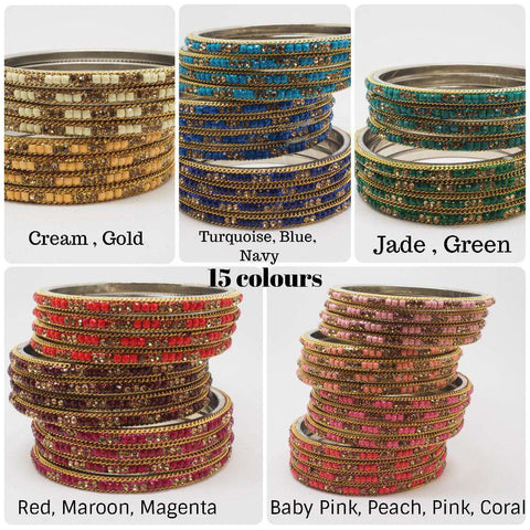 Disha Laakh Bangles - 15 colours- Handmade stone bangles (set of 4) Bollywood, Weddings, Party - 04VT18