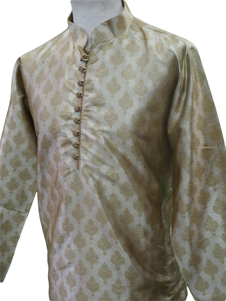 Prachy Creations : Mens Brocade Gold Kurta set , Bollywood Party Weddings - F1801KT