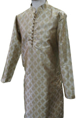 Mens Brocade Gold Kurta set , Bollywood Party Weddings - F1801KT