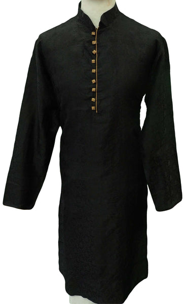 Mens Black self brocade Kurta set , Bollywood Party Weddings - F1802KT