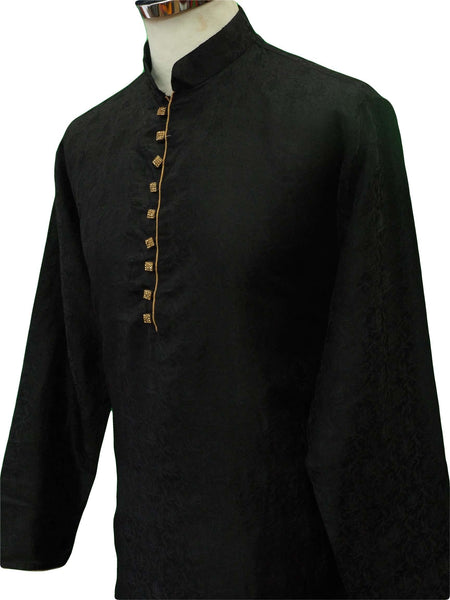 Prachy Creations : Mens Black self brocade Kurta set , Bollywood Party Weddings - F1802KT