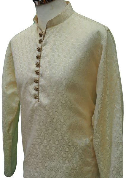 Prachy Creations : Mens Cream brocade Kurta set , Bollywood Party Weddings - F1804KT