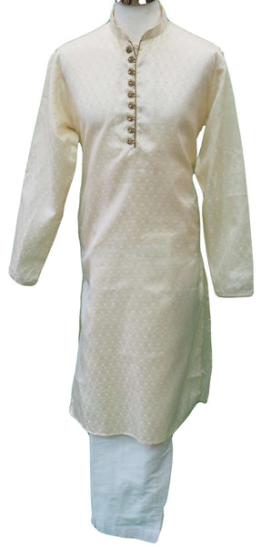 Mens Cream brocade Kurta set , Bollywood Party Weddings - F1804KT