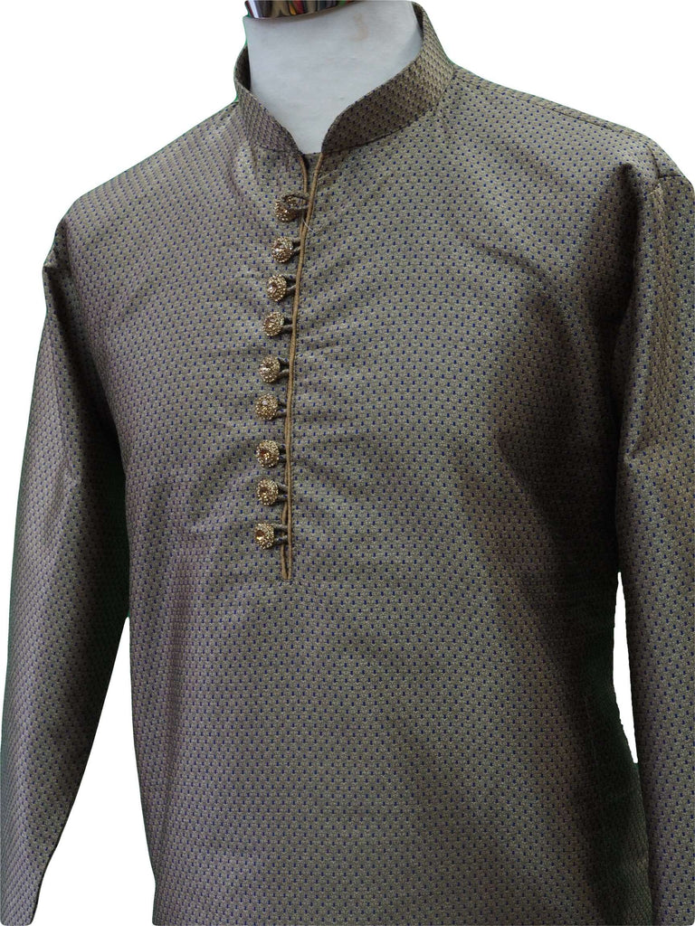 Mens Gold / Blue brocade Kurta set , Bollywood Party Weddings - F1806KT