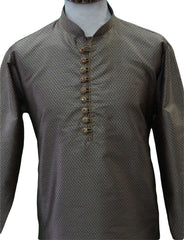 Prachy Creations : Mens Gold / Blue brocade Kurta set , Bollywood Party Weddings - F1806KT