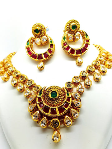 GG1024 - vp -Multi coloured Rajasthani Meenakari necklace set - Bridal, weddings, Bollywood - Prachy Creations