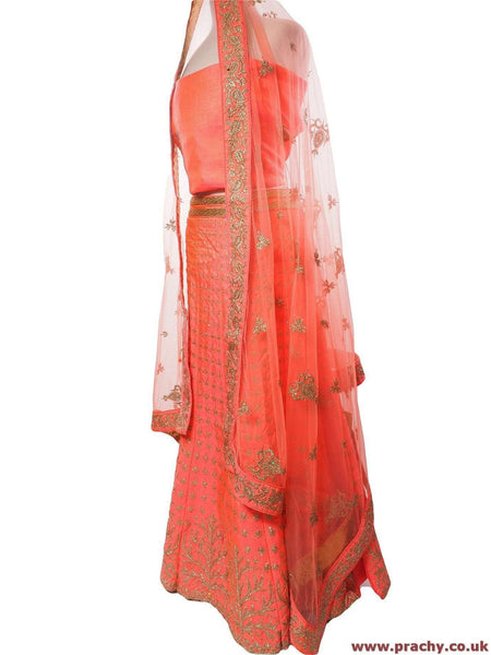 GLS4754 06RT17 - Pink Semi stitched Ladies Lehnga suit - Prachy Creations