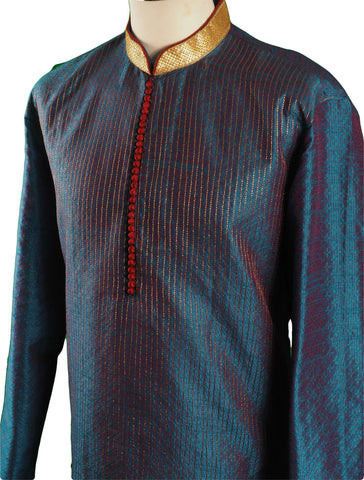Turquoise Blue Mens Indian Kurta set for weddings and Bollywood Party ( incl Draw stringed trousers) - Getz VT0218