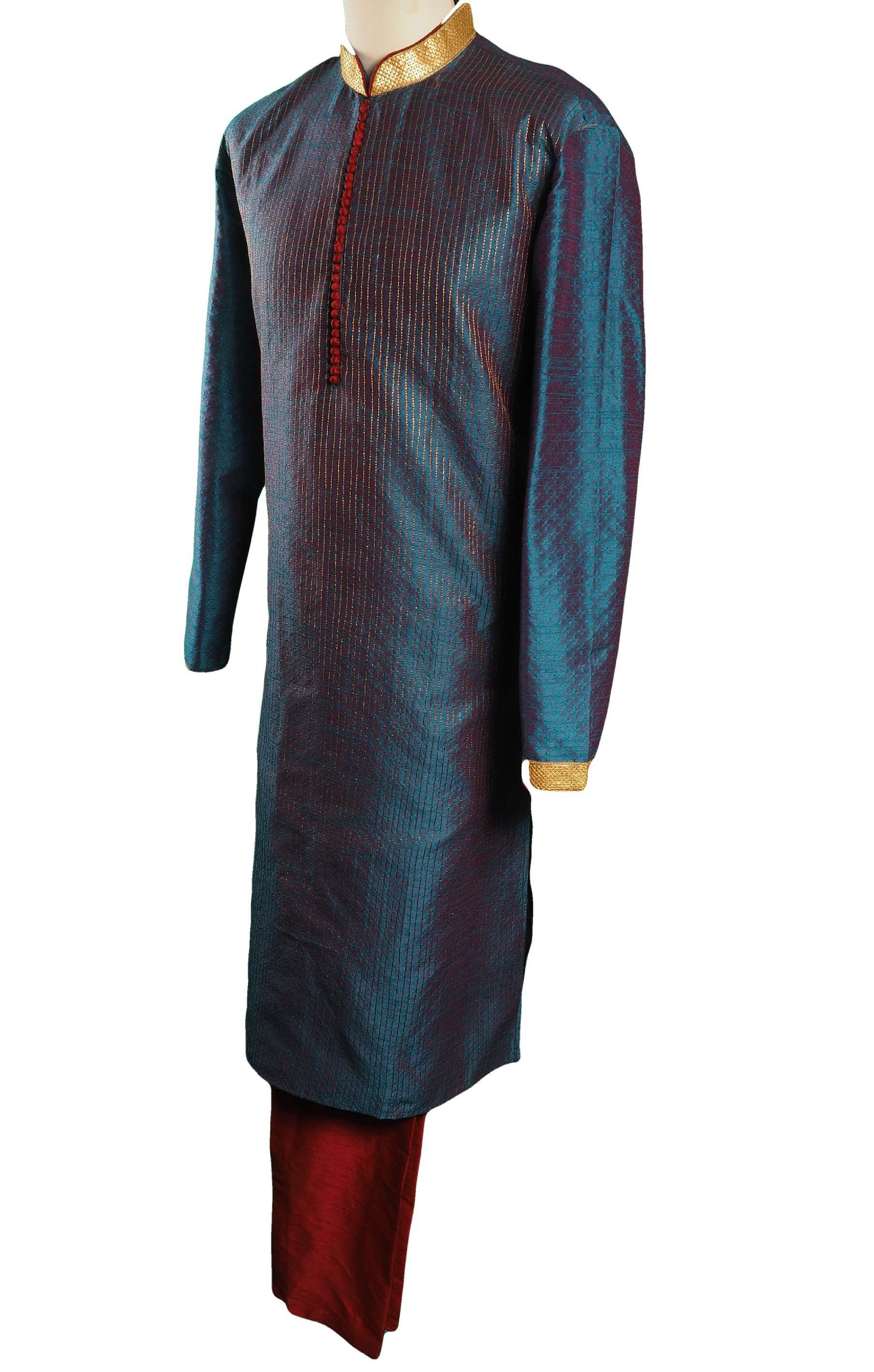 Turquoise Blue Mens Indian Kurta set for weddings and Bollywood Party ( incl Draw stringed trousers) - Getz VT0218 - Prachy Creations