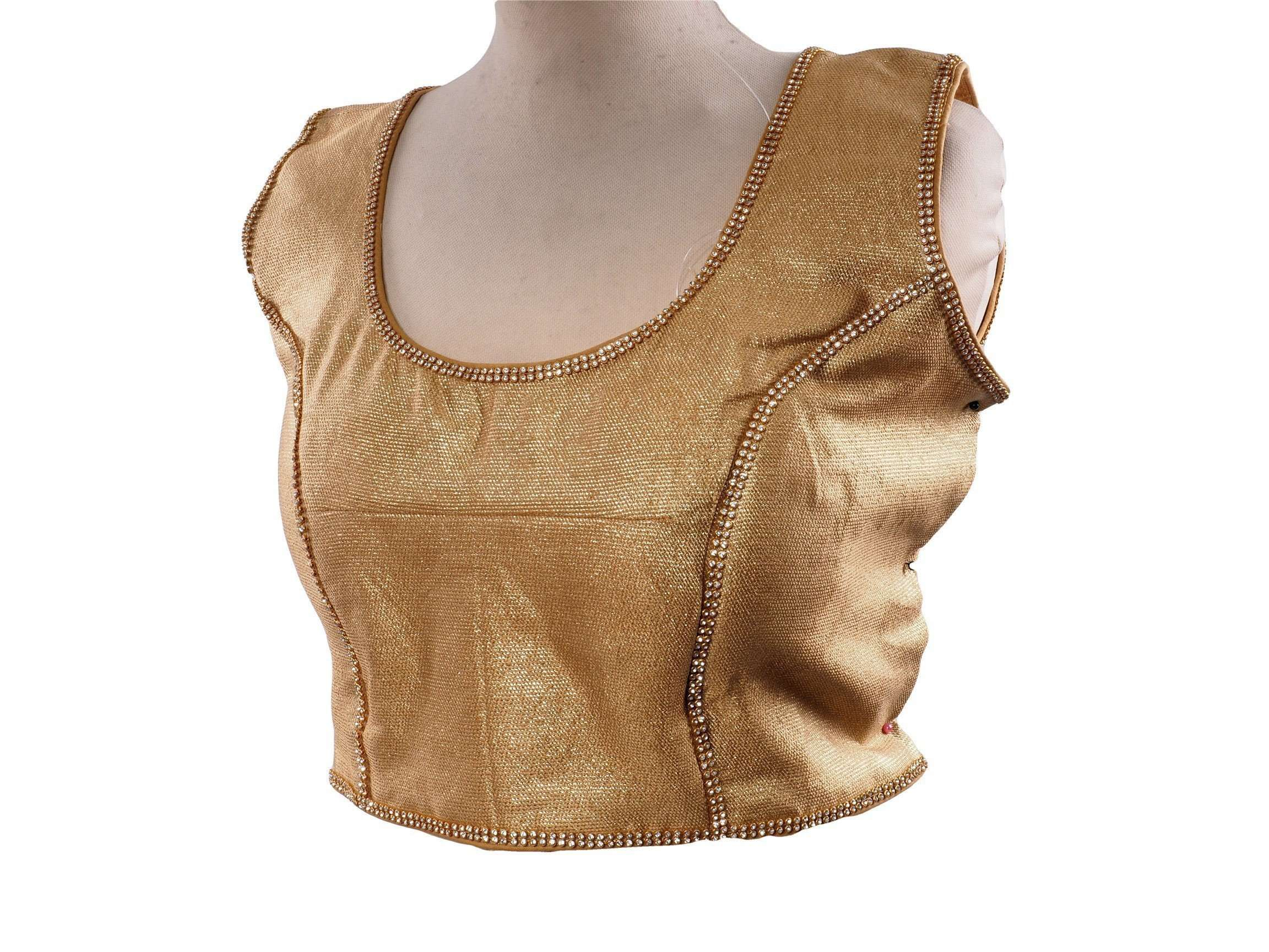 Gold Sleeveless Saree blouse , Back Fasten - Bollywood, Fancy dress - KJF549C - Prachy Creations