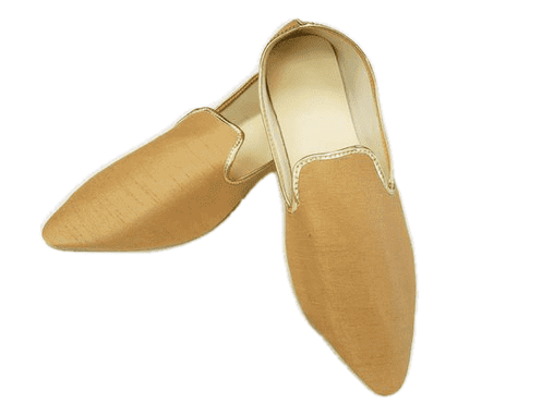 Prachy Creations : Very comfortable Gold Mojri - Indian Mens shoes - Bollywood - Weddings - Fancy Dress - Mojari, Khossay, Mojri size 9 / Brocade / Gold
